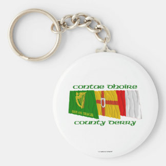 County Derry Flags Basic Round Button Keychain
