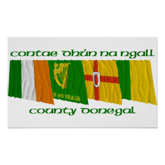 County Donegal Flags Poster