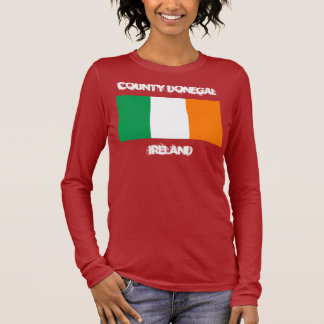 County Donegal, Ireland with Irish flag Long Sleeve T-Shirt