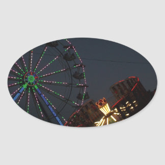County Fair at Night Oval Sticker