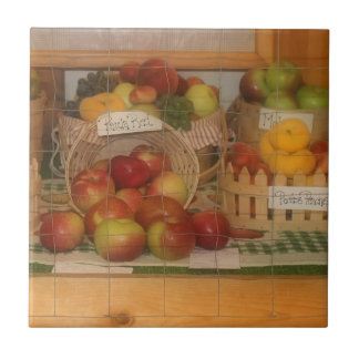 County Fair Fruit Harvest Display Small Square Tile