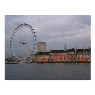 County Hall - London Eye - Postcard