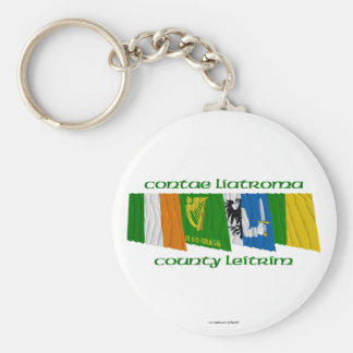 County Leitrim Flags Basic Round Button Keychain