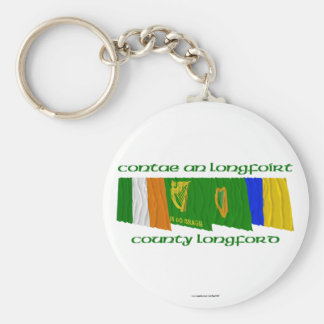 County Longford Flags Basic Round Button Keychain