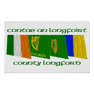 County Longford Flags Poster