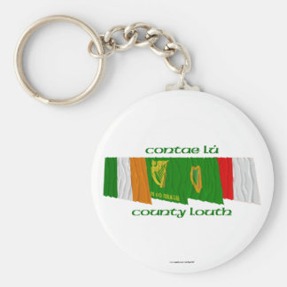 County Louth Flags Basic Round Button Keychain