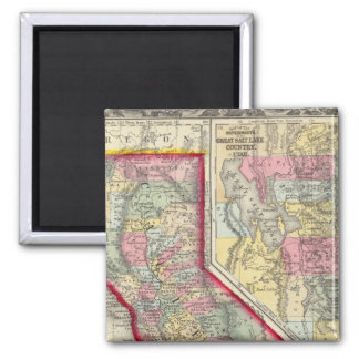 County Map Of California 2 Inch Square Magnet