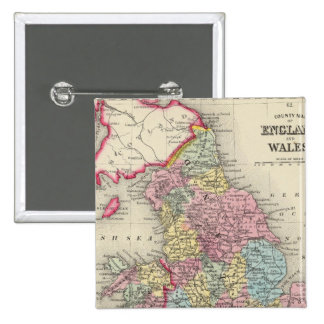 County Map Of England, And Wales Pinback Button