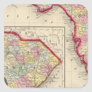 County Map Of Florida Square Sticker