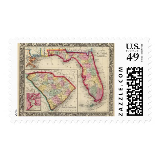 County Map Of Florida Stamp