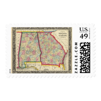 County Map Of Georgia, And Alabama Postage Stamp