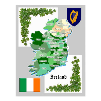 County Map of Ireland Postcard