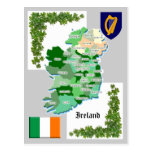 County Map of Ireland Postcards