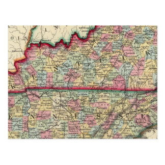County Map Of Kentucky, And Tennessee Postcard