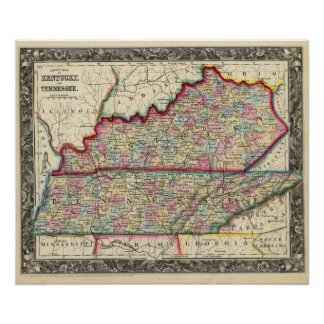 County Map Of Kentucky, And Tennessee Poster