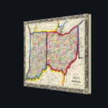 """County Map Of Ohio, And Indiana Canvas Print<br><div class=""""desc"""">County Map Of Ohio,  And Indiana. By Mitchell,  Samuel Augustus (186). Published by &#39;&#39;Phila: S.A. Mitchell Jr&quot;.</div>"""