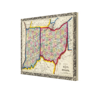 County Map Of Ohio, And Indiana Canvas Print