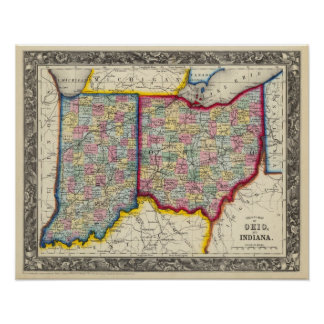 County Map Of Ohio, And Indiana Poster