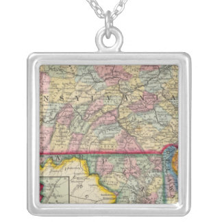 County Map Of Pennsylvania, New Jersey Personalized Necklace