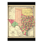 County Map of Texas and Indian Territory (1874) Card