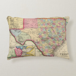 County Map Of Texas Accent Pillow