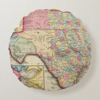 County Map Of Texas Round Pillow