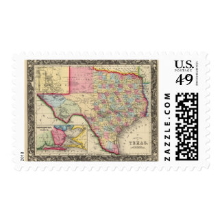 County Map Of Texas Postage Stamp