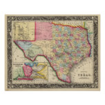 County Map Of Texas Poster