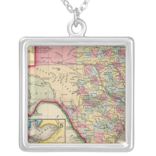 County Map Of Texas Silver Plated Necklace