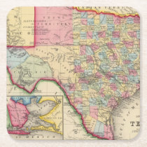 County Map Of Texas Square Paper Coaster