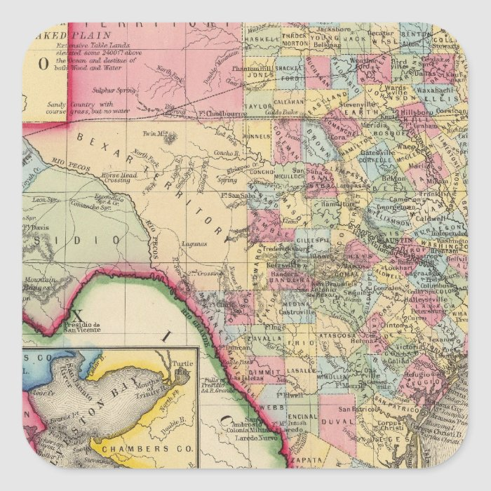 County Map Of Texas Square Sticker
