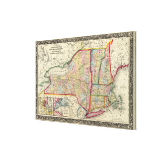 County Map Of The States Of New York Canvas Print
