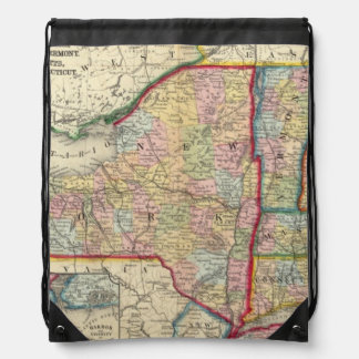 County Map Of The States Of New York Drawstring Bag