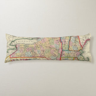 County Map Of The States Of New York Body Pillow
