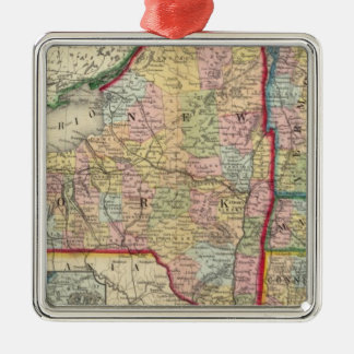 County Map Of The States Of New York Metal Ornament