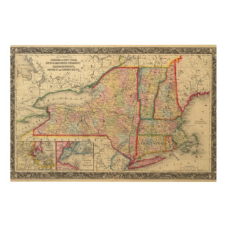 County Map Of The States Of New York Wood Print