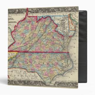 County Map Of Virginia, and North Carolina 3 Ring Binder