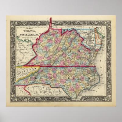 County Map Of Virginia, and North Carolina Print by davidrumsey