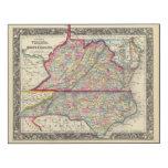 County Map Of Virginia, and North Carolina Wood Wall Art