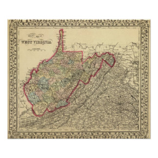 County map West Virginia Poster