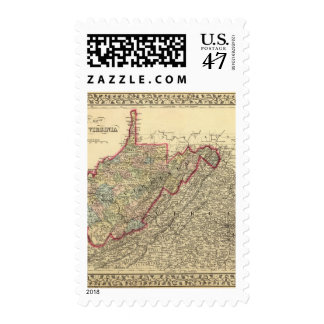 County map West Virginia Stamp