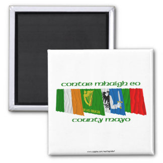 County Mayo Flags 2 Inch Square Magnet