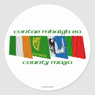 County Mayo Flags Round Stickers