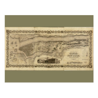 County of (Manhattan) New York Map (1836) Postcard