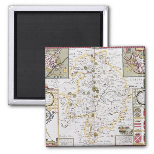 County of Warwick, Shire Town and City of 2 Inch Square Magnet