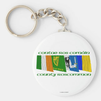County Roscommon Flags Basic Round Button Keychain