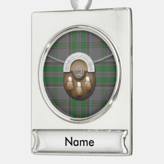 County Wicklow Irish Tartan And Sporran Silver Plated Banner Ornament