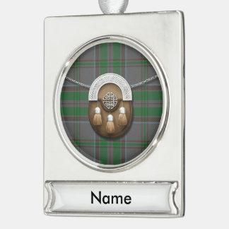 County Wicklow Irish Tartan And Sporran Silver Plated Banner Ornament