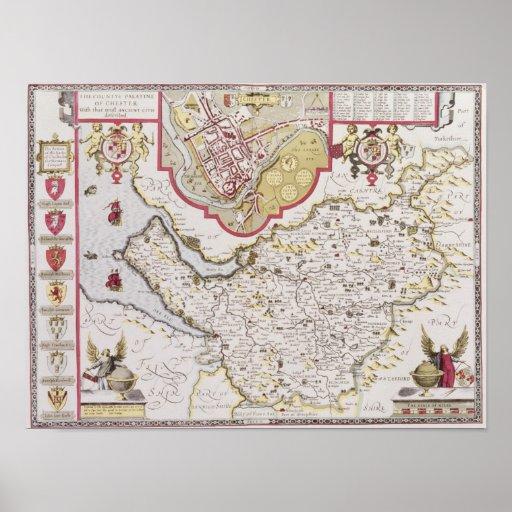 Countye Palatine de Chester, grabado cerca Póster