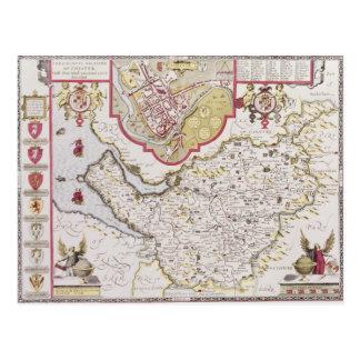 Countye Palatine de Chester, grabado cerca Postal